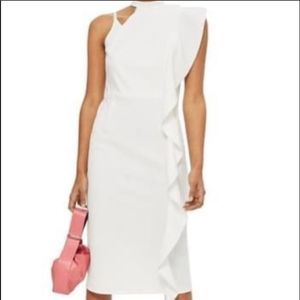 TOPSHOP White Asymmetrical Midi Dress Size 8